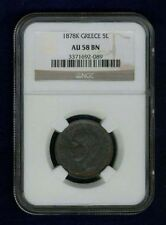 Greece Kingdom 1878-K 5 Lepta Coin, Almost Uncirculated, Certified Ngc Au58