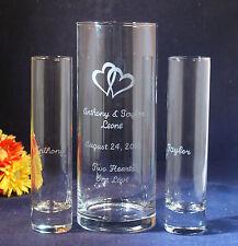 3 pc Wedding Unity Sand Ceremony Set, Engraved 9x3 Vase, Engraved Hearts