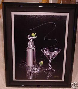 "*Michael Godard-""MARLIN MARTINI""-Olive-Deep Sea Fishing-Las Vegas-Fun-Art*Framed"