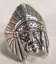 INDIAN HEAD W HEAD DRESS BIKER RING BR110R silver tone jewelry fashion rings NEW