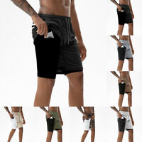 Mens Fast-Dry Sports Gym Running Shorts Breathable Fitness Bottoms With Pockets