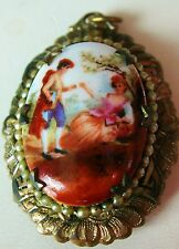 "VICTORIAN   LOCKET PENDANT  PORCELAIN ""LOVERS IN THE GARDEN"" MINIATURE GILDED"