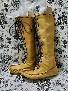 Moccasins Knee High Lace Up Leather Boots  Women's 8.5
