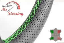 FOR FORD FOCUS 00-07 BLACK PERF LEATHER STEERING WHEEL COVER GREEN DBL STIT