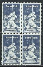 "USA - MNH Block of 4  Stamps - 20c Baseball ""Babe Ruth"""