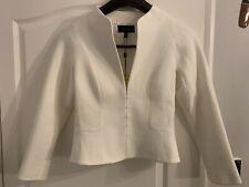 KAREN MILLEN Ivory Textured Mixed Media Suiting Tailored Jacket Uk 10