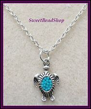 Silver Plated Necklace with Cute Sea Turtle Charm - Turquoise Colour Bead Detail