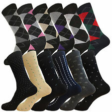 12 PK FASHION ARGYLE DIAMOND SOCKS MEN WOMEN DRESS SOCKS SIZE 9-11 COTTON SOCKS