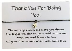 Thank You For Being You, Wish Bracelet, Anniversary, Friend Gift for Her or Him