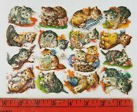 Vintage 1910 Cats Kittens Kitty Victorian Diecut Germany Uncut Sheet