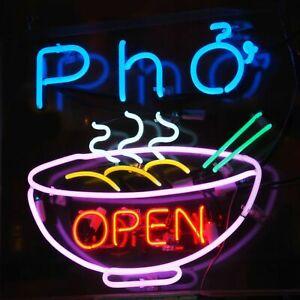 "24""x20""Pho Open Neon Sign Light Restaurant Store Wall Decor Real Glass Tube Art"