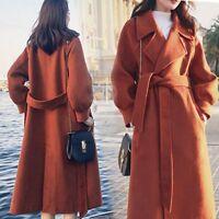 Womens Winter Warm Wool Lapel Long Coat Trench Parka Jacket Overcoat Outwear US