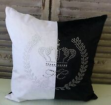 Crown Crest black and white cushion cover with rhinestones