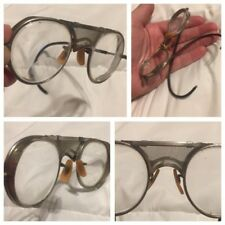 3132fa586a Antique Bausch   Lomb Steampunk Safety Motorcycle Eyeglasses Goggles WWII  ERA