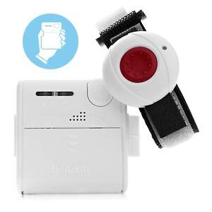 Helpline Mini: Kleiner mobiler Hausnotruf mit wasserdichtem Notrufarmband