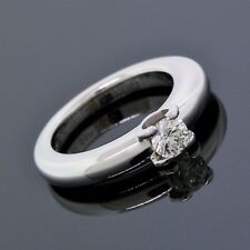 Cartier 18K White Gold Diamond Double C Engagement Band Ring Euro Size48 (4.5)