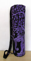 Yoga Mat Carrier Bag With Shoulder Strap Indian Purple Elephant Tree Gym Bags