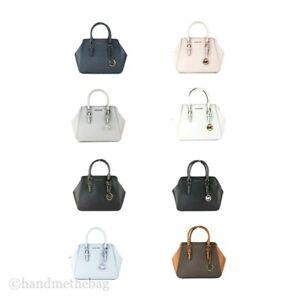 Michael Kors Charlotte Large Leather Crossbody Satchel Shoulder Handbag Purse