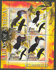 Palestinian National Authority Birds of Africa III Hornbills Sheet of 4 MNH**