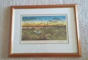 Robert Rob Taylor 'Brolga Dance' Signed-Titled-Dated '89 Framed Print  21/100