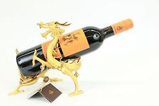 Hand Made 24K Gold Plate Gilt Bronze Chinese Lucky Dragon Wine Holder Hot cast