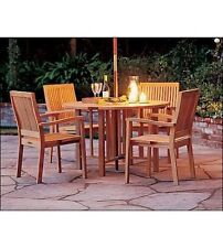 """LEVEB 5 PC DINING TEAK SET GARDEN OUTDOOR PATIO GARDEN FURNITURE 48"""" ROUND TABLE"""
