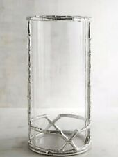 SILVER BAMBOO CHINOISERIE TRANSITIONAL Candle Holder HURRICANE very large
