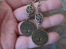 Bronze Wicca Celtic Knot Tree of Life Handcrafted Artisan Earrings