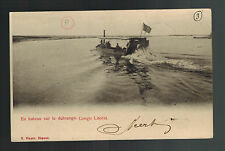 1906 Boma Belgian Congo RPPC Postcard Cover Motorboat in River