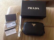 Prada Saffiano Black Leather Camera Handbag