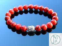 Buddha Red Turquoise Manmade Gemstone Bracelet Beaded 7-8'' Elasticated