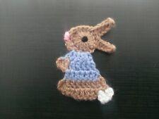 Crochet Bunny rabbit applique handmade card making scrapbook sewing Peter easter