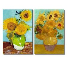 "Sunflowers by Vincent Van Gogh - Canvas Prints Wall Art - 16"" x 24"" x 2 Panels"