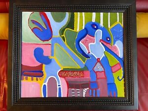 "Louise Abrams Older Surreal Large FRAMED Oil Painting FRAMED SIZE 25"" X 29"""
