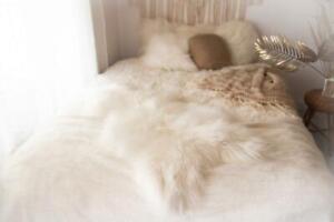 Genuine Natural LARGE XL Icelandic Sheepskin Rug, Pelt, long fur  WHITE