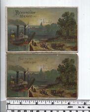 Reward of Merit - Mid 1800s -  Two Black Americana Cards - Paddlewheeler Cotton3