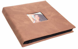 """Brown Faux Leather Photo Album - Front Cover Window Frame, Max. 600 4x6"""" Prints"""