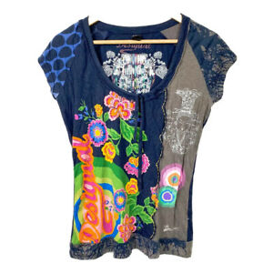 Desigual Colorful Floral Print Blue Top Blouse Logo Design Front Tie T-Shirt