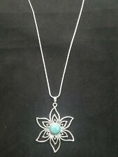 Turquoise Flower Necklace Pendant on Sterling Silver Chain