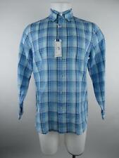 Southern Tide NEW Men S Blue Classic Fit Plaid Linen Blend Button-Front Shirt