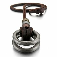 MENDINO Men's Alloy Pendant Leather Cord Necklace Double Rings Brown Adjustable