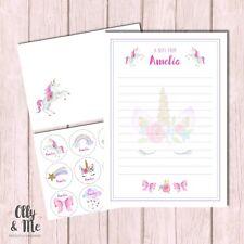Personalised Children/Child Note Writing Set & Stickers ANY Name Unicorn Gift
