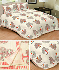 Sanskriti 100% Cotton Hand Block Print Double Bedsheet With 2 Pillow Covers