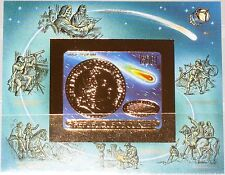 GUINEA 1986 Block 220 B GOLD Foil Halleyscher Komet Halleys Comet Space Weltraum