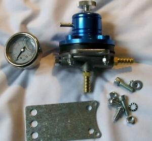 FSE Adjustable Fuel Pressure Regulator Blue with Gauge