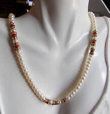 Cute Fresh H2O White Baroque Pearl Strand Coral Bead Rhinestone Necklace 7d 54
