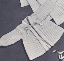 Vintage Knitting PATTERN to make Baby Smocking Sacque Hat Afghan Set BabySmock