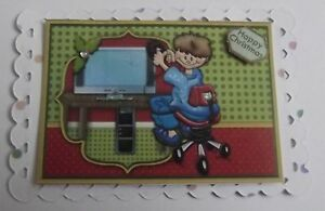 PK 2 HAPPY CHRISTMAS TEENAGE GAMER EMBELLISHMENT TOPPERS FOR CARDS
