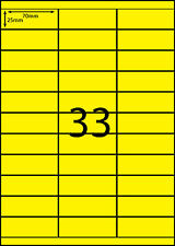 A4 Labels Labels 100 sheets- FLUORO YELLOW -33 labels per page