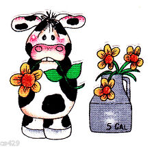 "2"" Country holstein cow daisy pot  farm animal fabric applique iron on character"